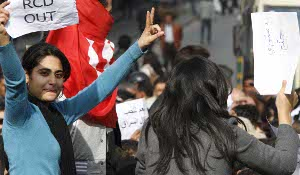 Photo: Tunisians protest in January 2011 Image via Nasser Nouri /Flikr