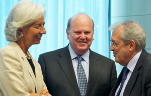 IMF managing director Christine Lagarda, Irish finance minister Michael Noonan, and Italian economic affairs minister Fabrizio Saccomanni. Image via Flickr/EU Council Eurozone