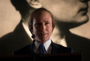 "Aiden Gillen as taoiseach Charles J Haughey during the GUBU years, from the recent RTE Drama ""Charlie"". Image: RTÉ."